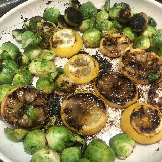 Brussels sprouts char-cooked